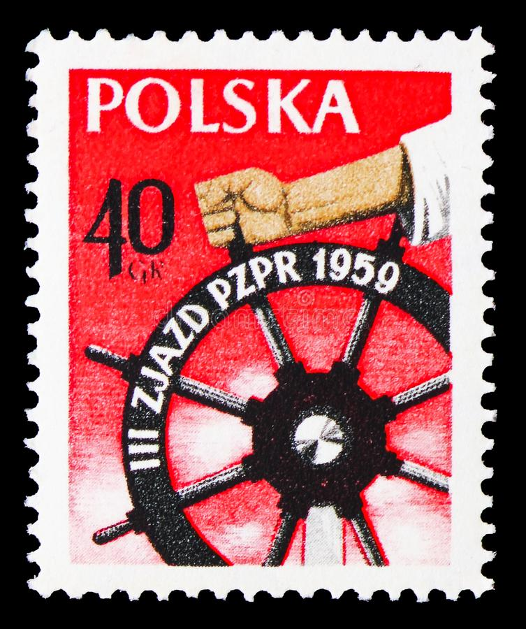 Hand at wheel, 3rd Workers Congress serie, circa 1959 royalty free stock images