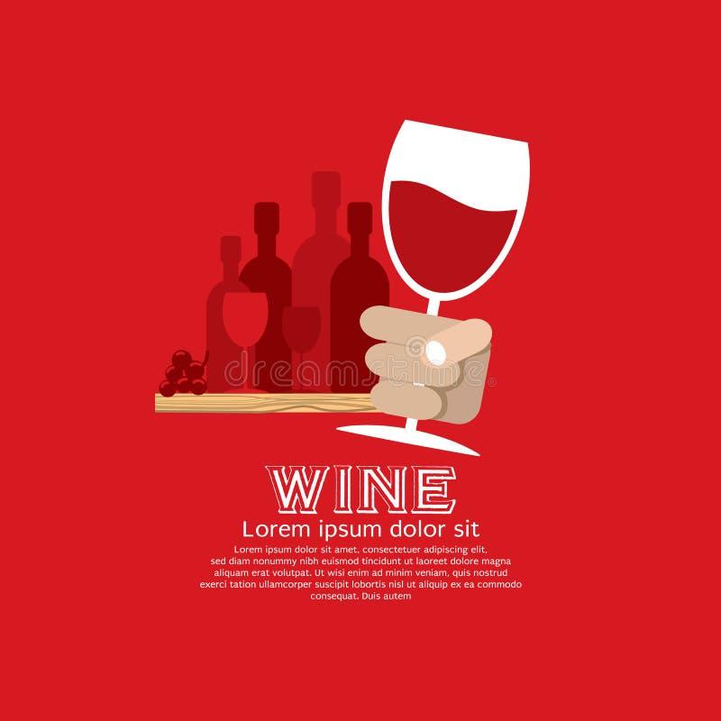 In Hand wijnglas. vector illustratie