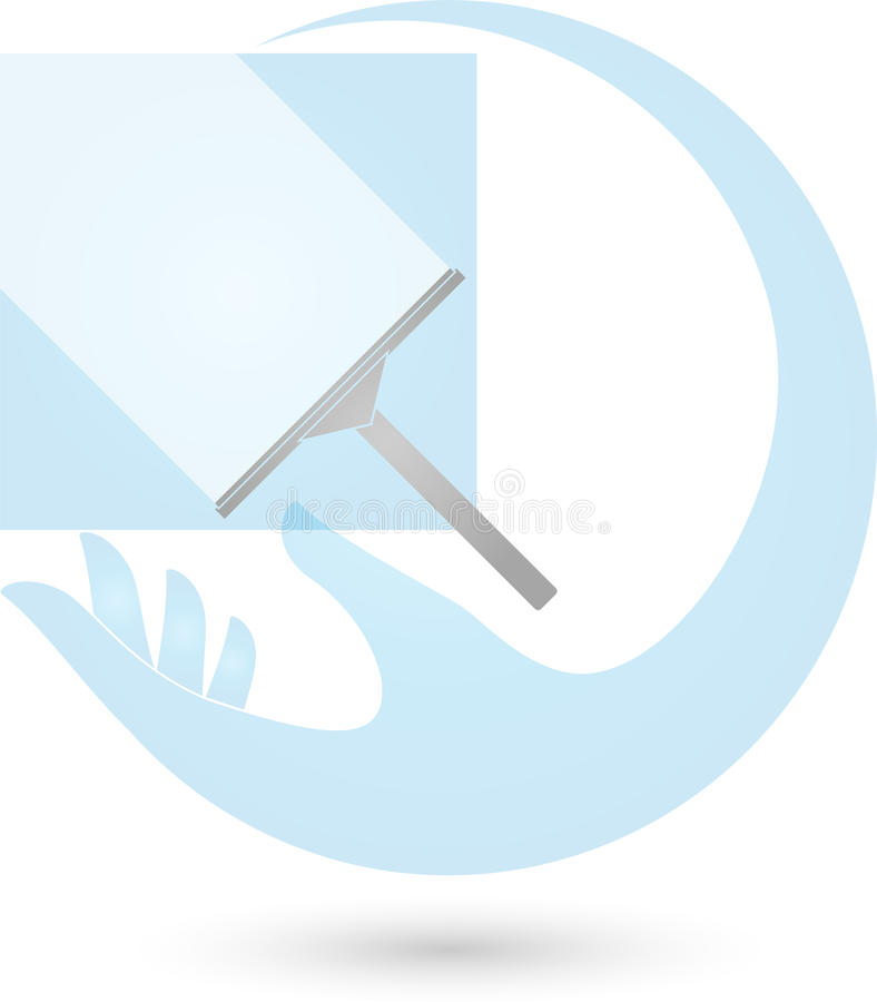 Hand and window cleaner, cleaning and cleaning company logo stock illustration