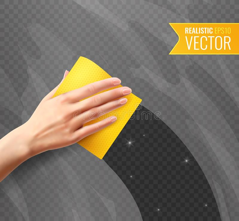 Hand Wiping Glass Realistic Background. Woman hand wiping dirty glass with yellow napkin transparent background in realistic style vector illustration vector illustration