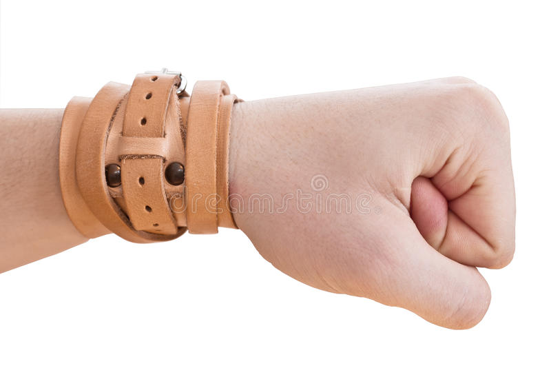Hand wird in eine Faust zusammengepreßt. Handgelenk-Band lizenzfreie stockfotos