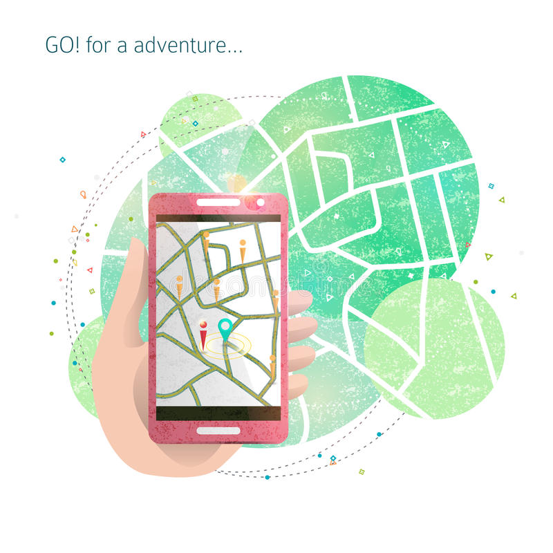 Free Hand With Mobile Phone And Gps Maps Royalty Free Stock Photos - 78869638