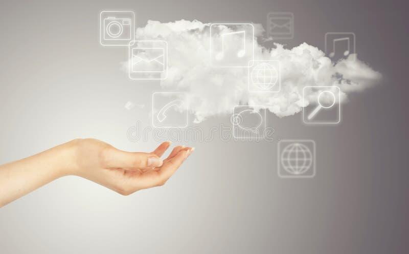 Hand, Wolke und Multimediaikonen lizenzfreie stockbilder