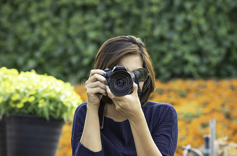 Hand woman holding the camera Taking pictures Background of trees and flowers royalty free stock image