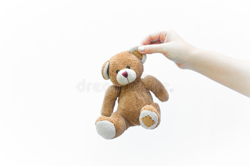 Hand woman holding ear brown teddy bear toy on white. Background stock photos