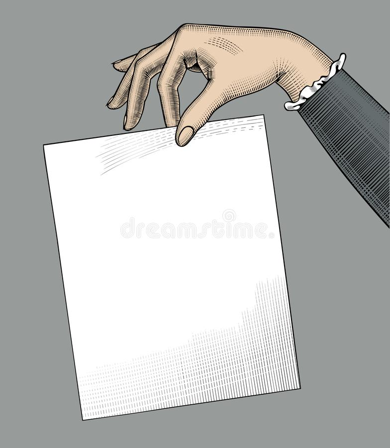 Hand of woman holding a paper sheet royalty free illustration