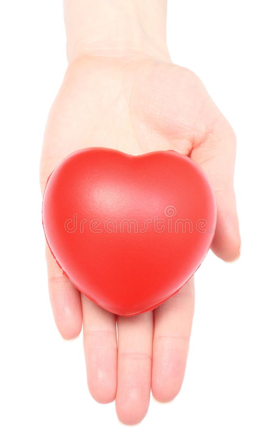 Hand Of Woman Holding Red Heart. White Background Stock Images