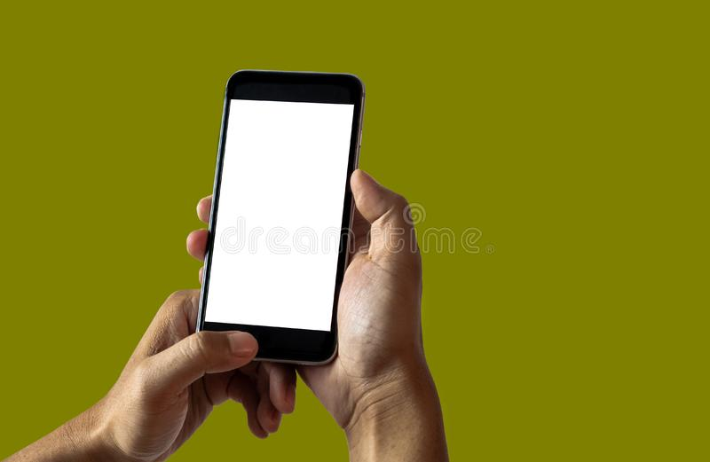 Hand woman holding smartphone with blank screen . royalty free stock image