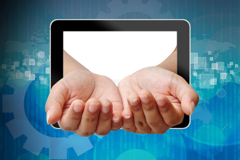 Download Hand Woman Out Of Tablet-pc Stock Image - Image: 26460283