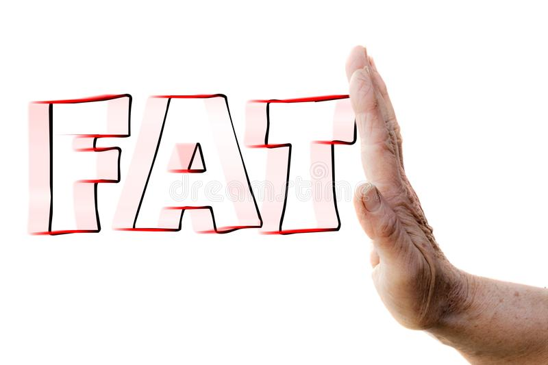 Hand of a woman stopping FAT. The hand of a woman is stopping the word `FAT` that is coming to it with high speed stock image