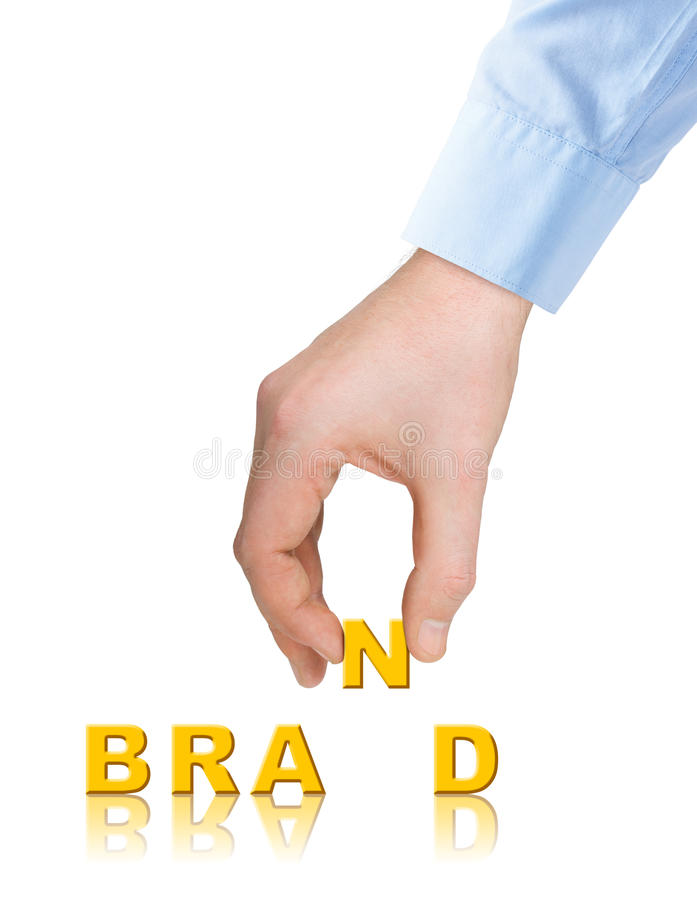 Hand and word Brand stock images