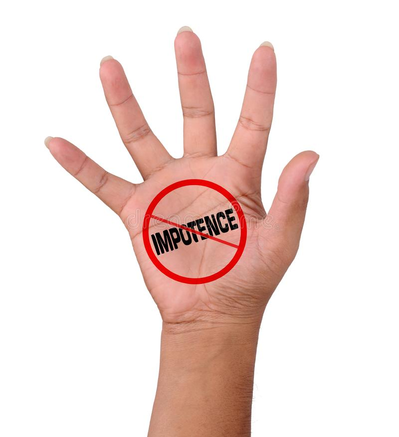 Hand and word No Impotence. On white background stock photos
