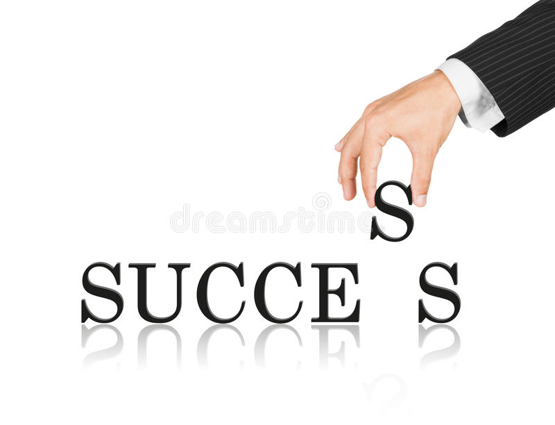 Hand and word Success, business concept, isolated on white background stock photo