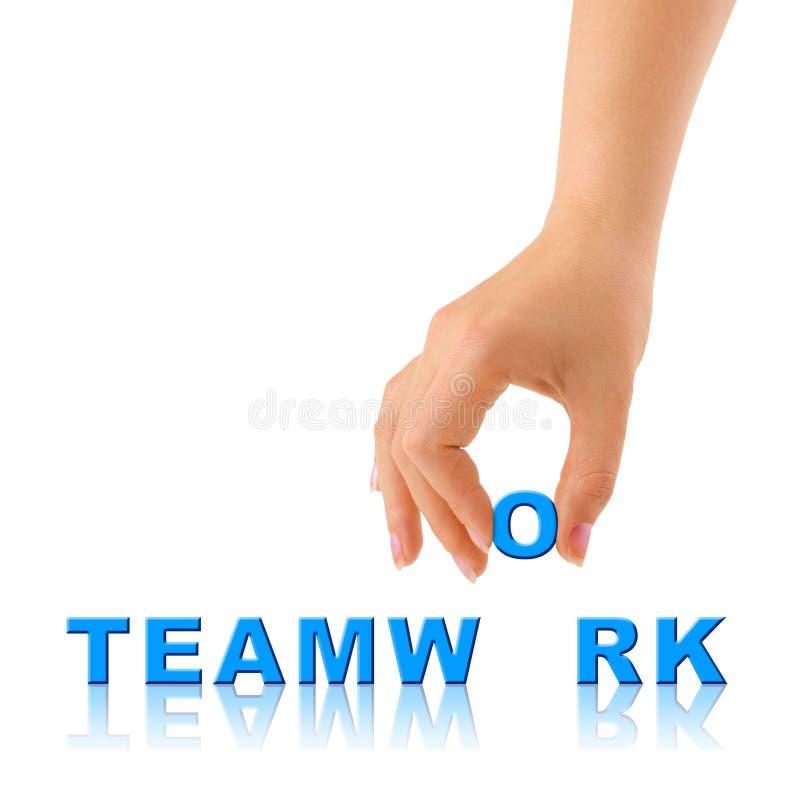 Hand and word Teamwork stock photo