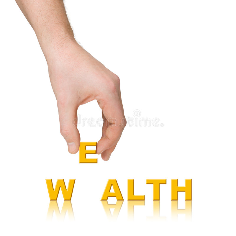 Hand and word Wealth royalty free stock photography
