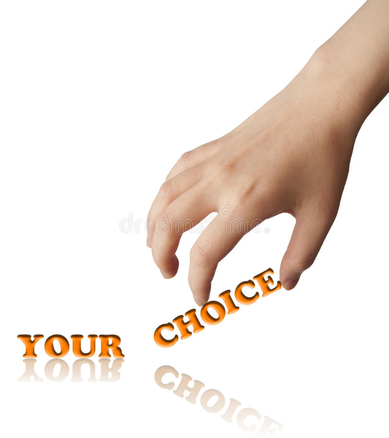 Hand and word your choice. Business concept, isolated on white background stock images