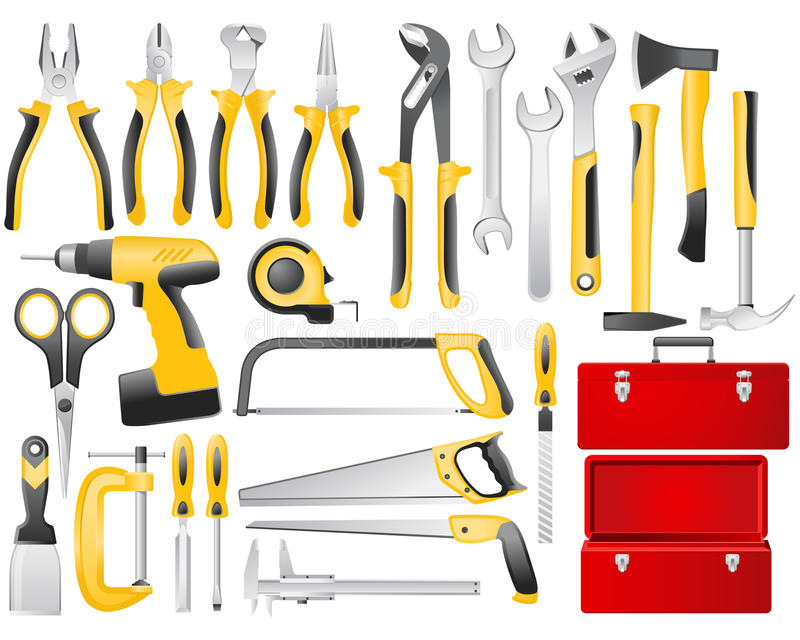 Hand work tools set. Full-color hand work tools and toolbox icon set royalty free illustration