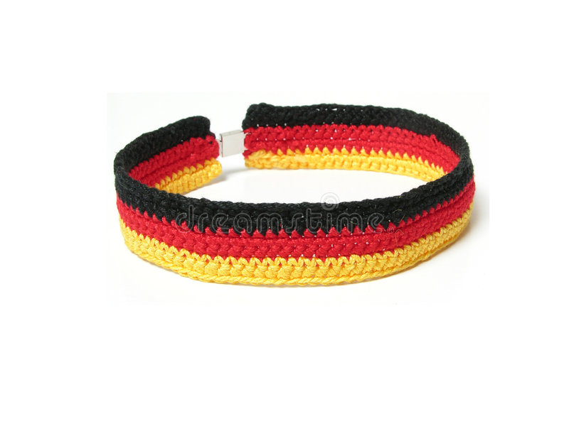 Hand worked crocheted collar. In the colour of germanys flag stock photo