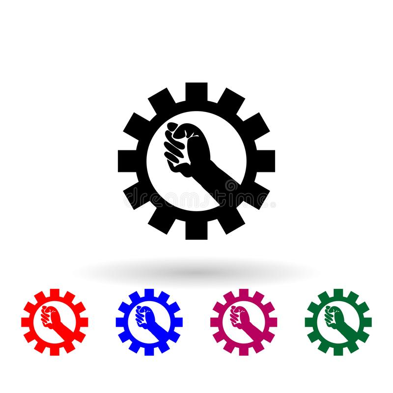 Hand of worker and mechanism multi color icon. Simple glyph, flat vector of communism capitalism icons for ui and ux, website or. Mobile application on white vector illustration