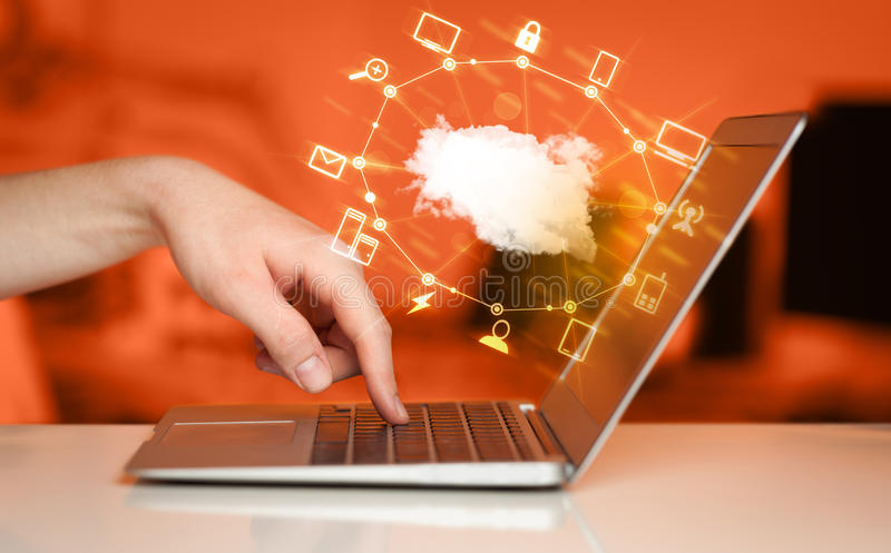 Hand working with a Cloud Computing diagram stock image