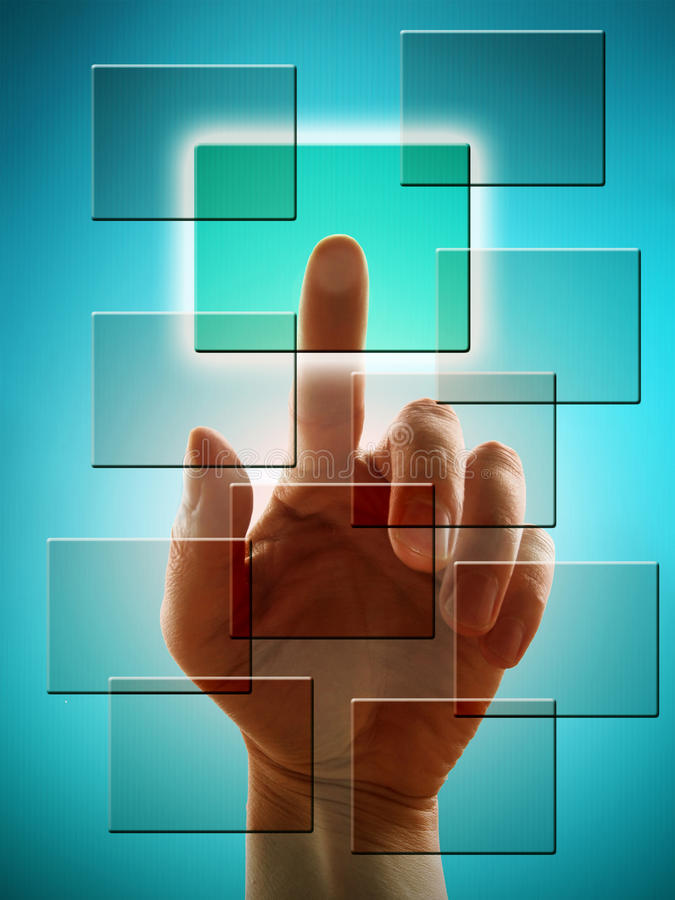 Hand Working With Touch Screen Stock Photo