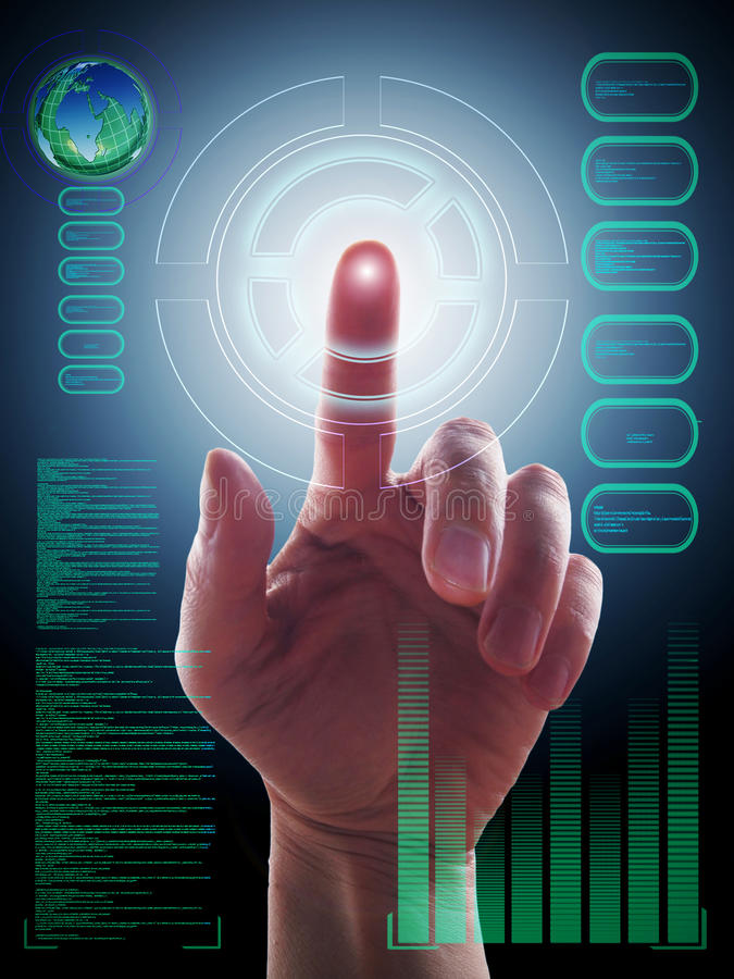 Download Hand Working With Touch Screen Stock Image - Image: 26192891