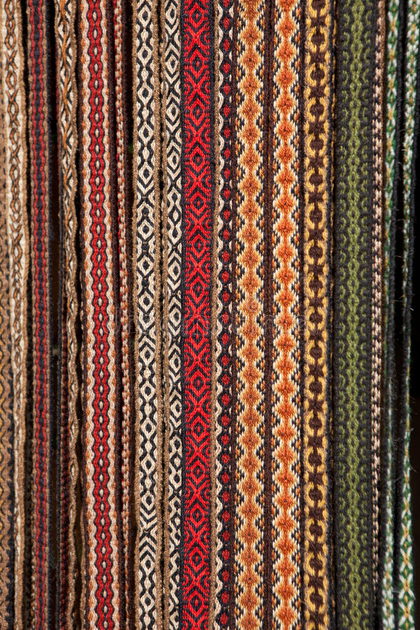 Hand-woven belts royalty free stock photo