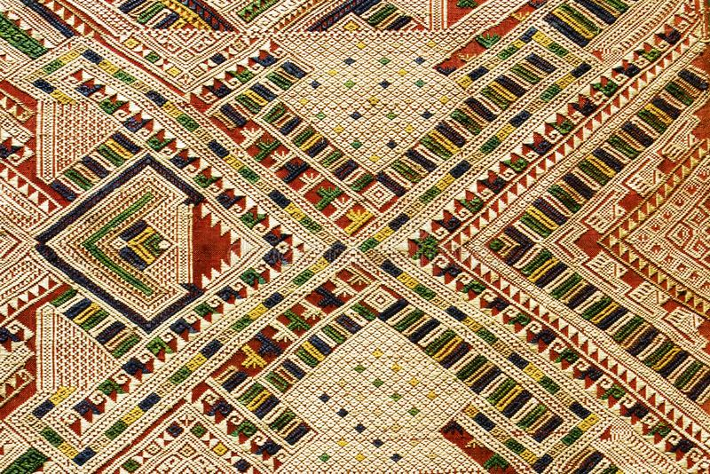 Hand woven textile background, Laos. Detailed texture of hand woven textile from Laos