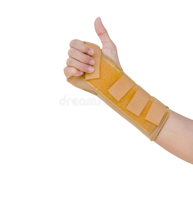 Hand with a wrist brace, orthopedic equipment isolated on white, insurance concept stock image