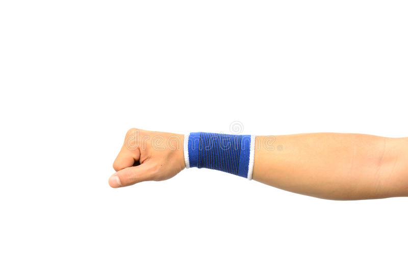 Hand with a wrist support isolated stock photo