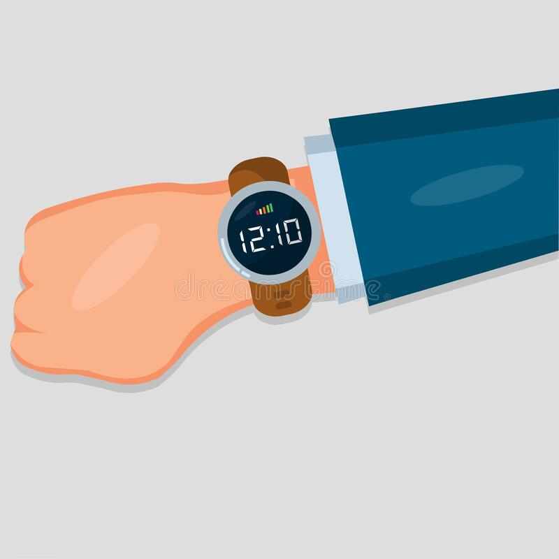 Hand with wrist watch isolated for on time concept vector illustration.  stock illustration
