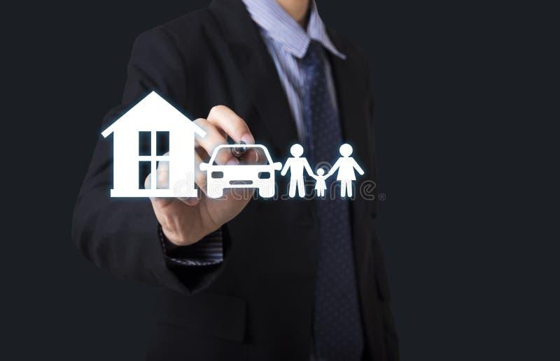 Hand write home car family. concept assurance health-care. Insurance stock photo