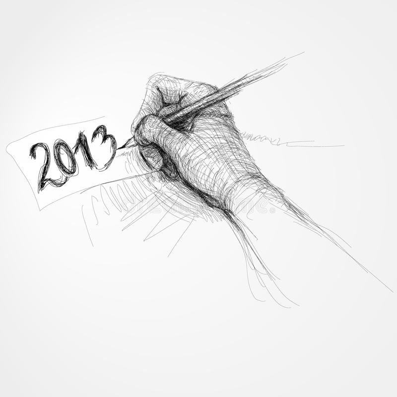 "Hand writes ""2013"" vector illustration"
