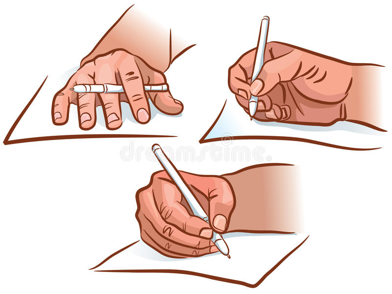 Hand writing. The hand writing from different angles royalty free illustration
