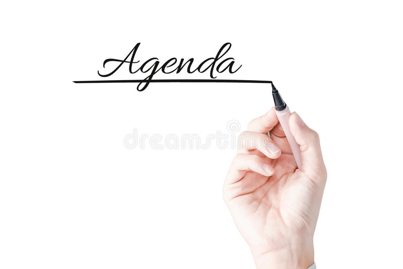 Hand writing Agenda with blue marker on transparent board stock photos