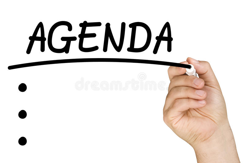 Hand Writing Agenda Clear Glass Whiteboard stock photo