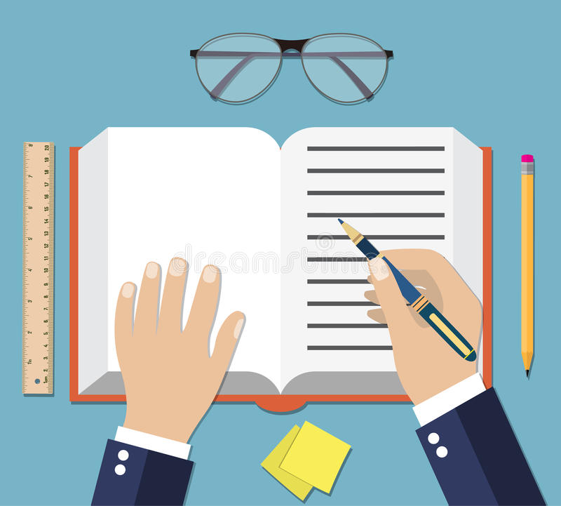 Hand Writing On Book Open royalty free illustration