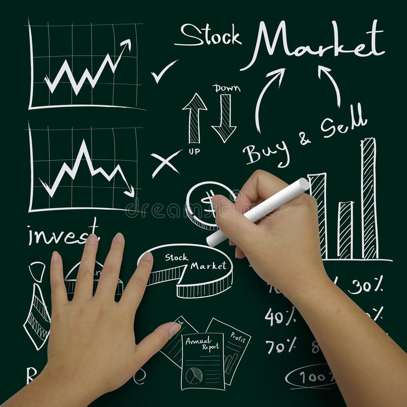 Hand writing business icons stock image