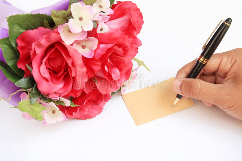 Download Hand writing card and rose stock photo. Image of green - 23536562