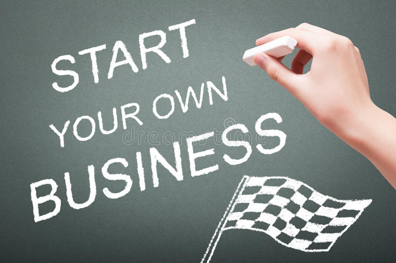 Hand writing with chalk start your own business stock image