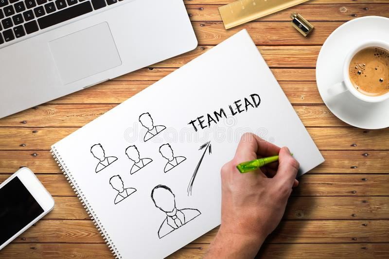 Hand writing concept of team leading on a college block stock photos
