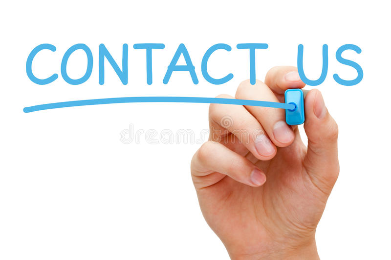 Contact Us Concept. Hand writing Contact Us with blue marker on transparent wipe board
