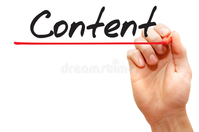 Hand writing Content, business concept royalty free stock photos
