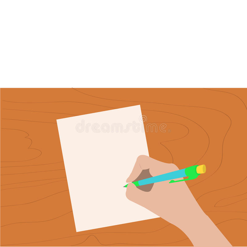 Hand writing drawing pen. Woman holding pencil. Paper sheet. Wooden desk table. stock illustration