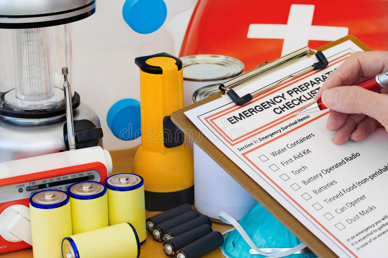 Hand Writing Emergency Preparation Equipment List royalty free stock images