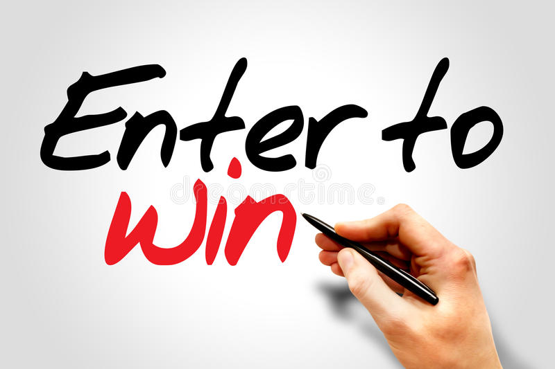 Hand writing Enter to win, business concept royalty free stock images