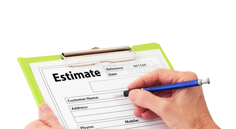 Hand Writing an Estimate on Clipboard royalty free stock photography