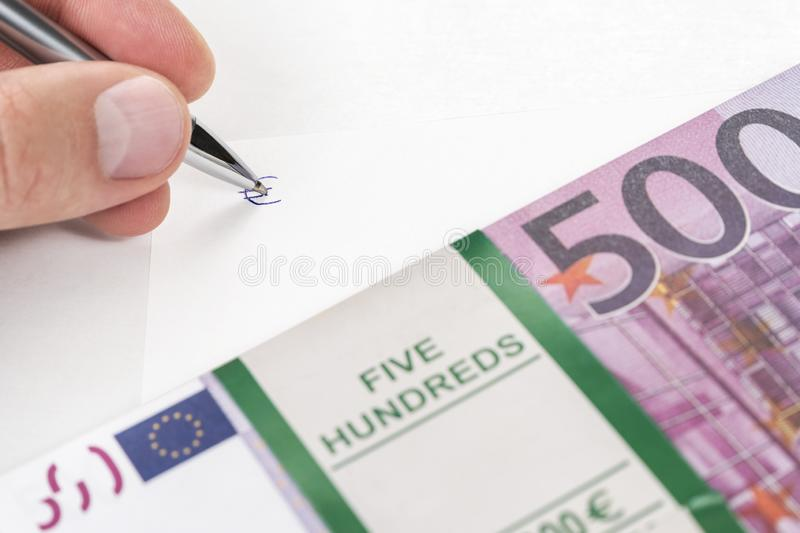 stack of 500 euro in hand stock image image of hand