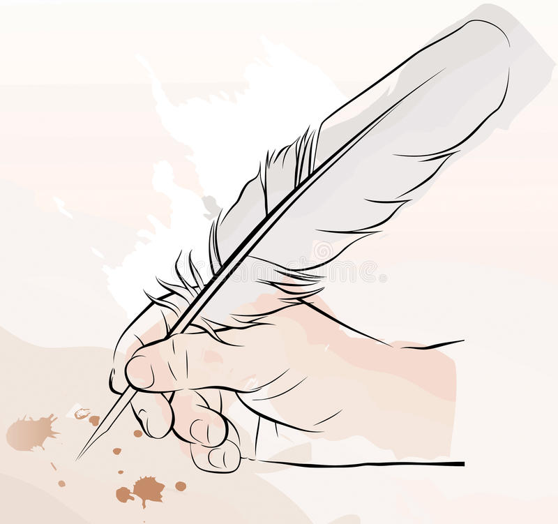 Download Hand Writing With A Feather Pen Stock Vector - Image: 14463760