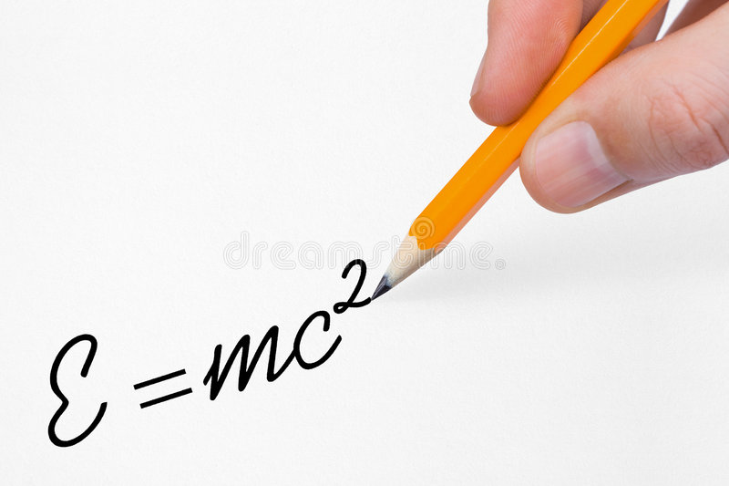Hand writing formula on paper stock photography